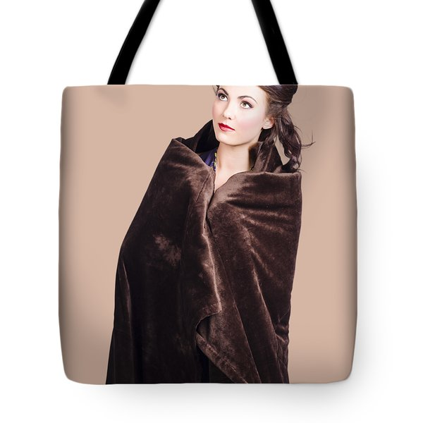 Cold Girl Feeling The Chill Of Winter In Blanket Tote Bag