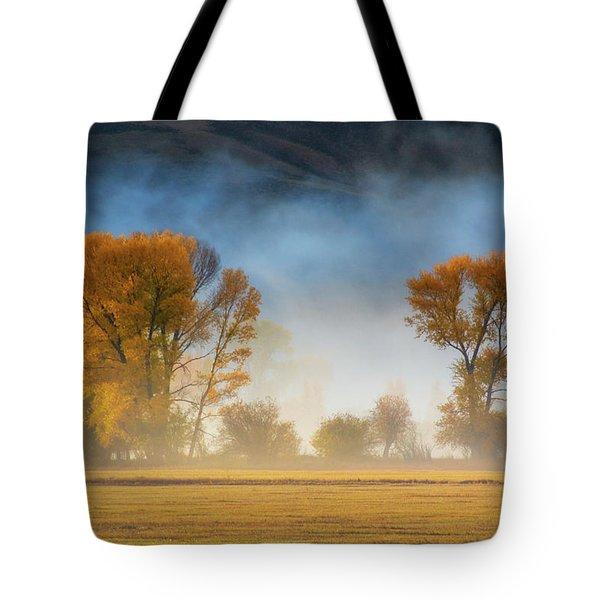 Colorado Autumn Fog Tote Bag