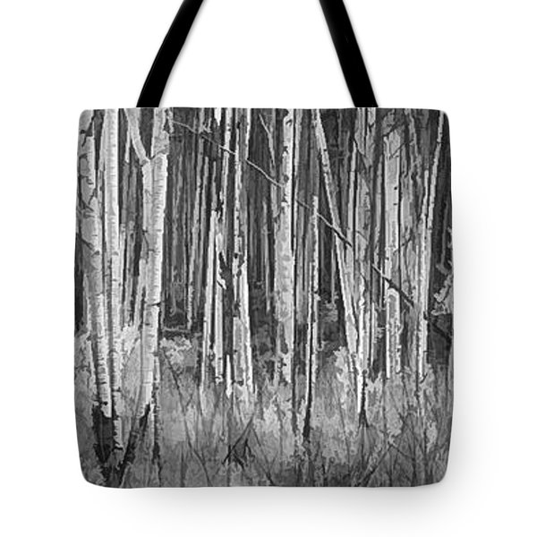 Tote Bag featuring the photograph Colorado Autumn Wonder Panorama In Black And White  by OLena Art Brand