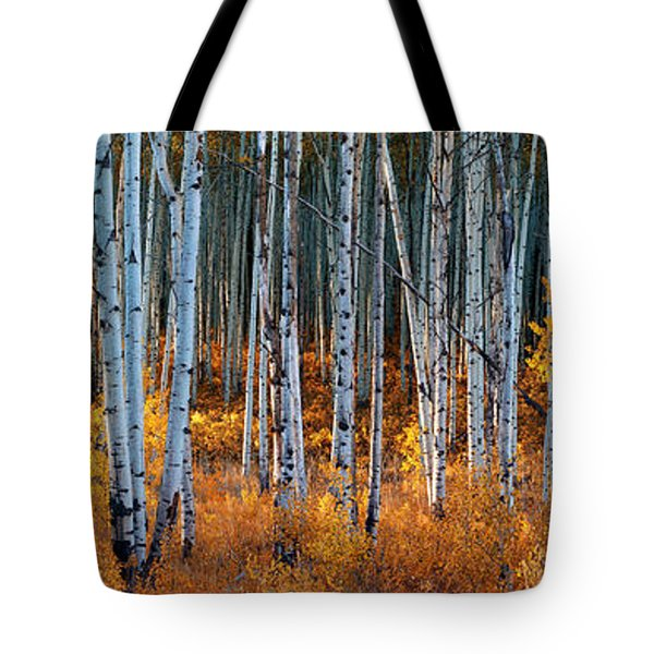 Tote Bag featuring the digital art Colorado Autumn Wonder Panorama by OLena Art Brand