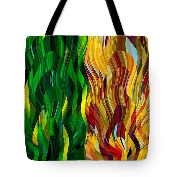 Tote Bag featuring the digital art Colored Fire by David Manlove