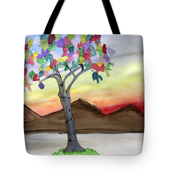 Colored Tree Tote Bag