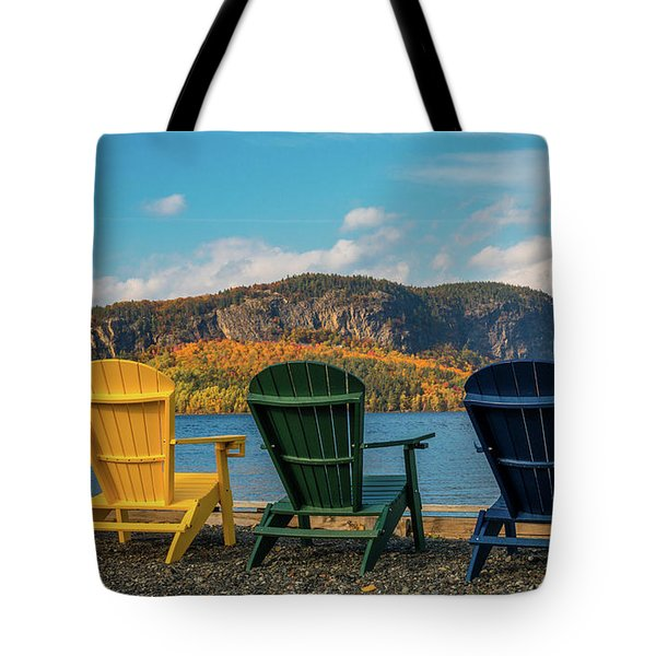 Colorful Adirondack Chairs On Moosehead Lake Tote Bag