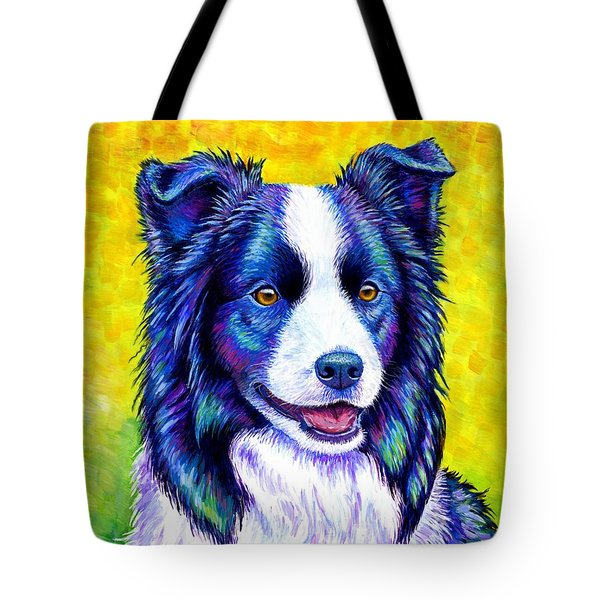 Colorful Border Collie Dog Tote Bag