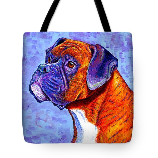 Colorful Brindle Boxer Dog Tote Bag