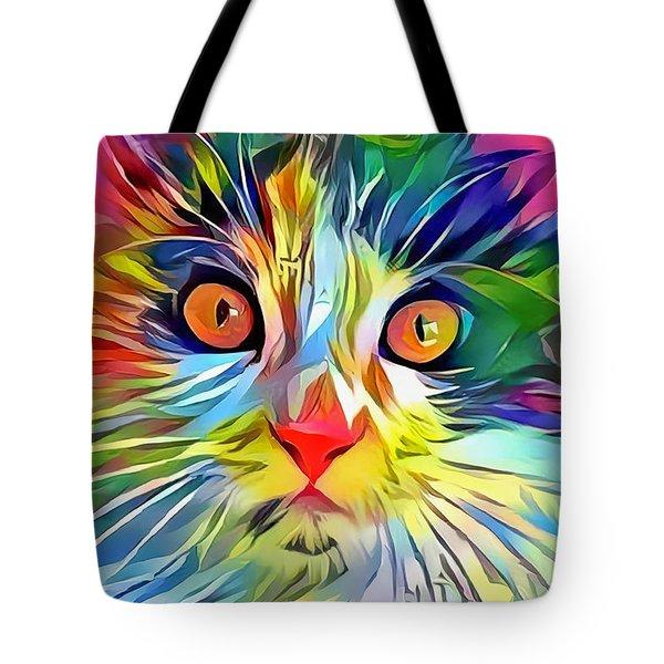Colorful Calico Cat Tote Bag