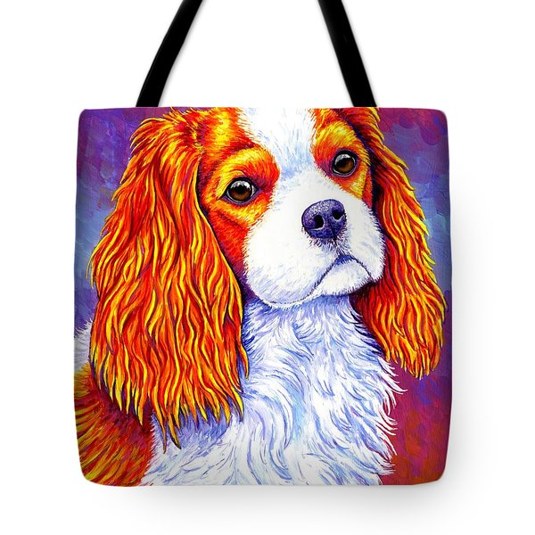 Colorful Cavalier King Charles Spaniel Dog Tote Bag