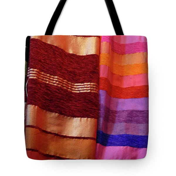 Colorful Fabrics In The Medina Market  Tote Bag