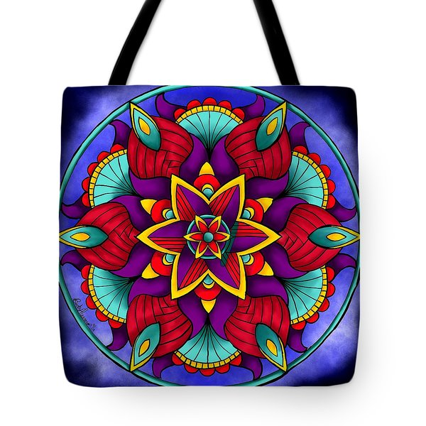 Tote Bag featuring the digital art Colorful Flower Mandala by Becky Herrera