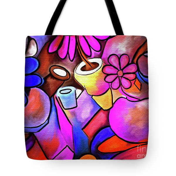 Colorful Flowerpots Abstract Tote Bag
