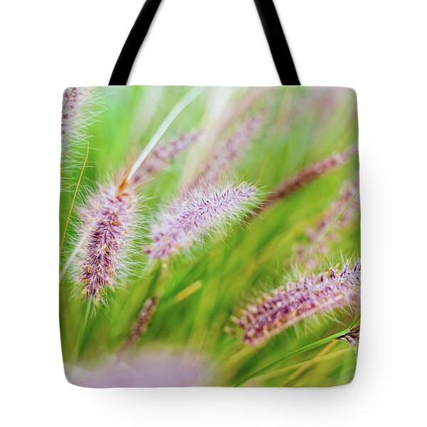 Colorful Flowers In Purple Spikes, Purple Fountain Grass, Close- Tote Bag