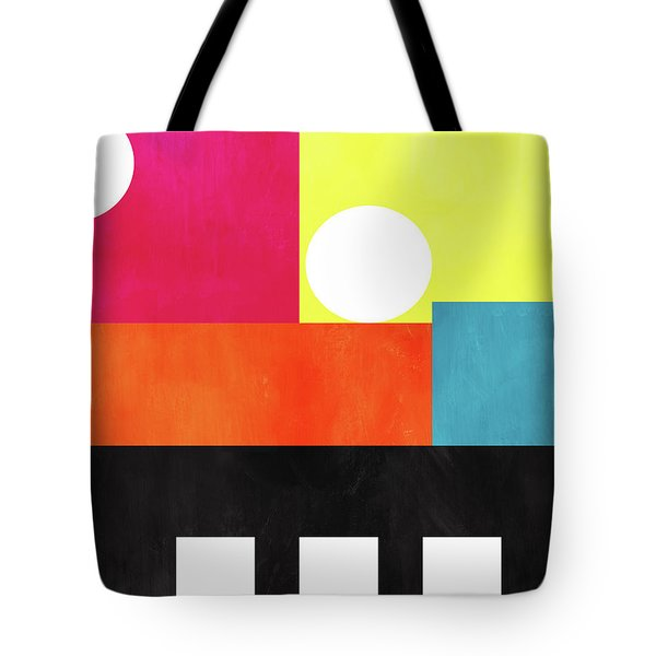 Tote Bag featuring the mixed media Colorful Geometric Abstract 1- Art By Linda Woods by Linda Woods