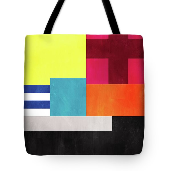 Tote Bag featuring the mixed media Colorful Geometric Abstract 2- Art By Linda Woods by Linda Woods