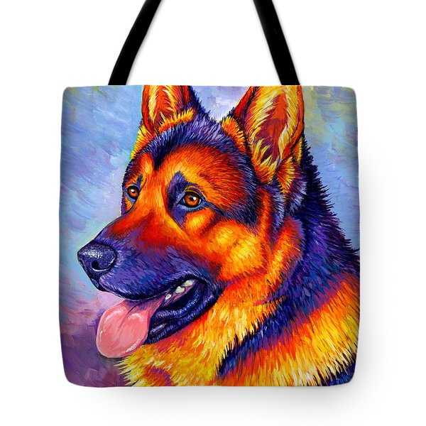 Colorful German Shepherd Dog Tote Bag