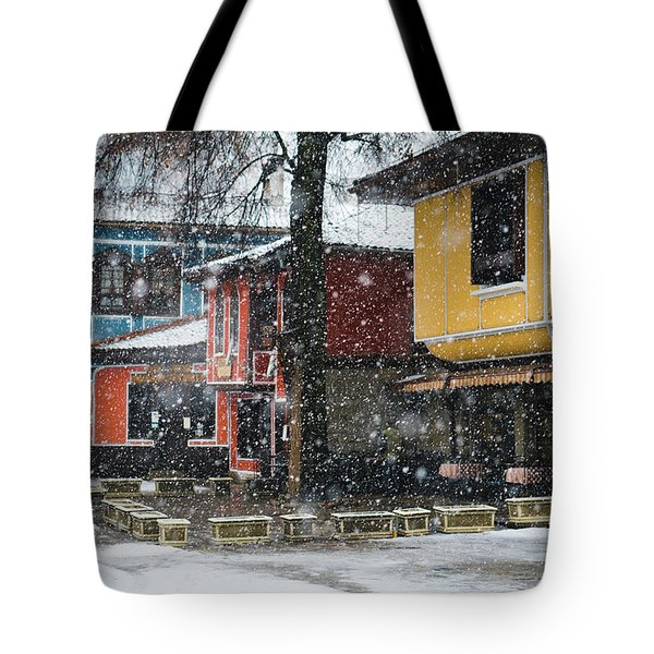Tote Bag featuring the photograph Colorful Koprivshtica Houses In Winter by Milan Ljubisavljevic