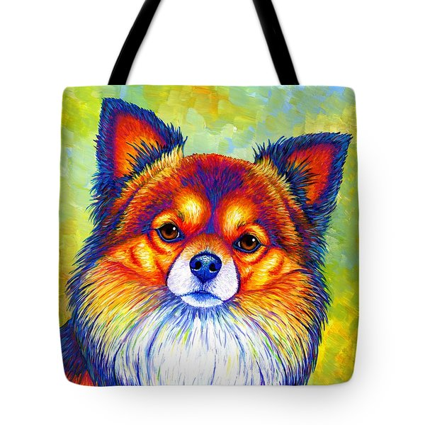 Colorful Long Haired Chihuahua Dog Tote Bag