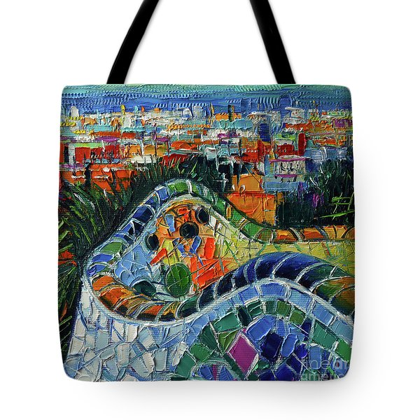 Colorful Mosaic Park Guell Barcelona Impasto Palette Knife Stylized Cityscape Tote Bag
