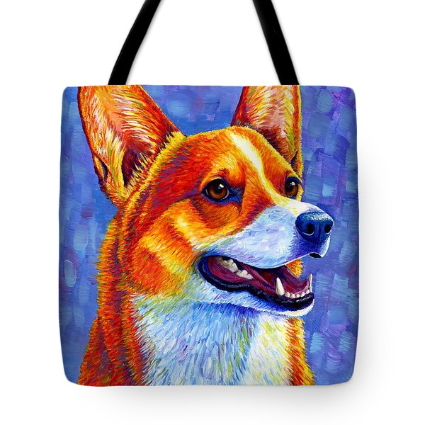 Colorful Pembroke Welsh Corgi Dog Tote Bag
