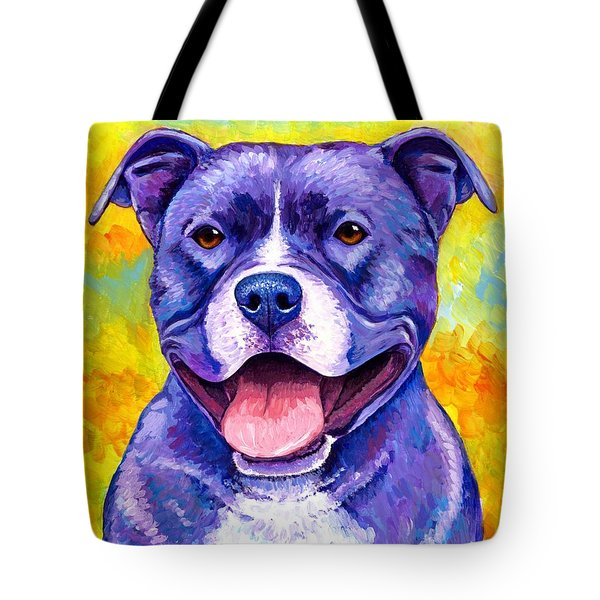 Colorful Pitbull Terrier Dog Tote Bag