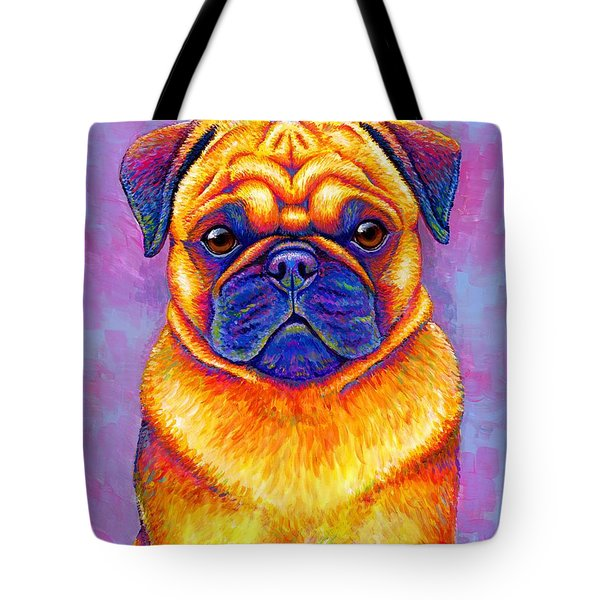 Colorful Rainbow Pug Dog Portrait Tote Bag