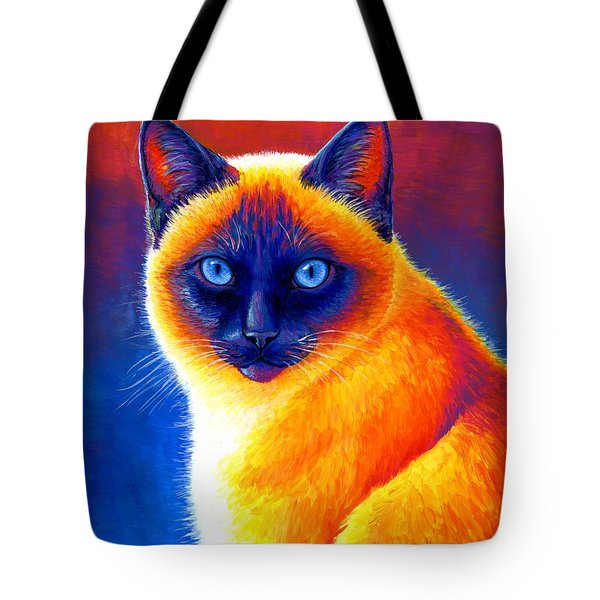 Jewel Of The Orient - Colorful Siamese Cat Tote Bag