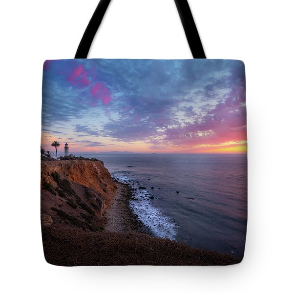 Tote Bag featuring the photograph Colorful Sky After Sunset At Point Vicente Lighthouse by Andy Konieczny