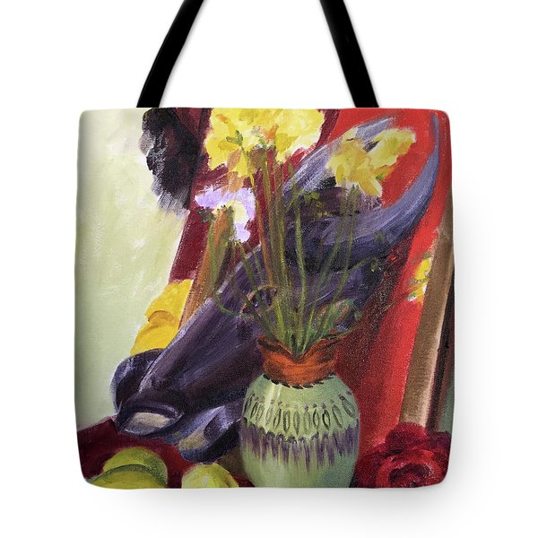 Colorful Still Life Painting Surrounding An African Tribal Mask Tote Bag