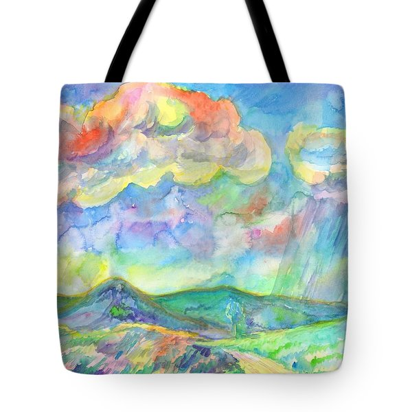 Tote Bag featuring the painting Colorful Summer Landscape by Dobrotsvet Art