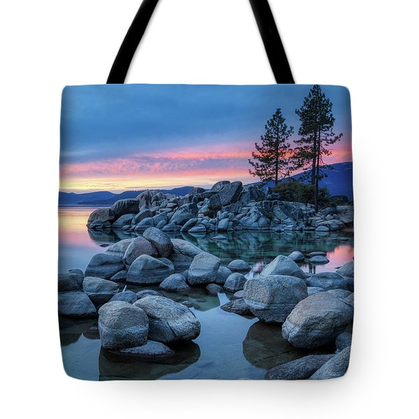 Tote Bag featuring the photograph Colorful Sunset At Sand Harbor by Andy Konieczny