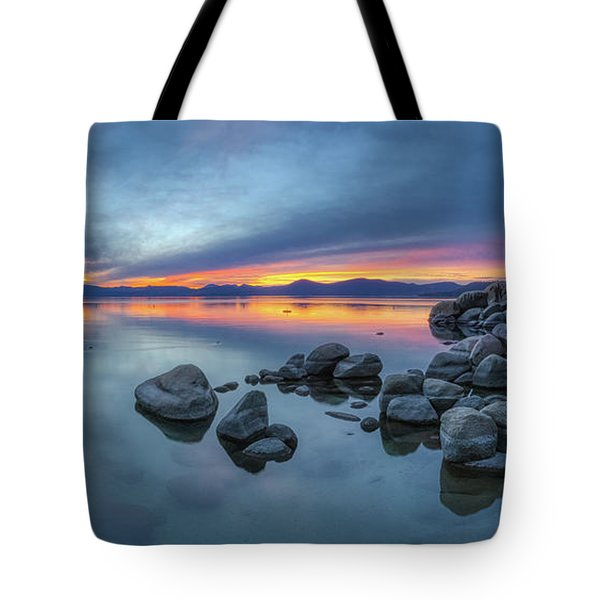 Colorful Sunset At Sand Harbor Panorama Tote Bag