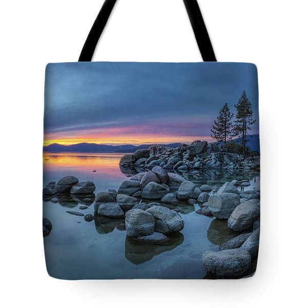 Tote Bag featuring the photograph Colorful Sunset At Sand Harbor Panorama by Andy Konieczny