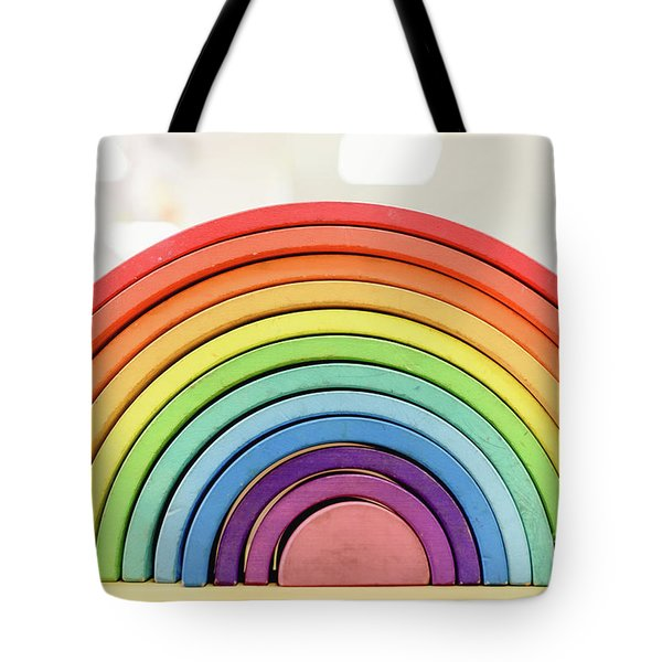 Colorful Waldorf Wooden Rainbow In A Montessori Teaching Pedagogy Classroom. Tote Bag