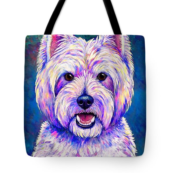 Colorful West Highland White Terrier Blue Background Tote Bag