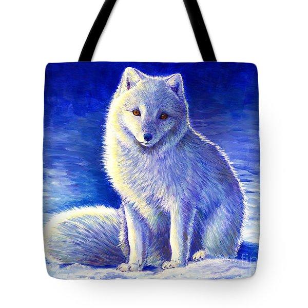 Colorful Winter Arctic Fox Tote Bag