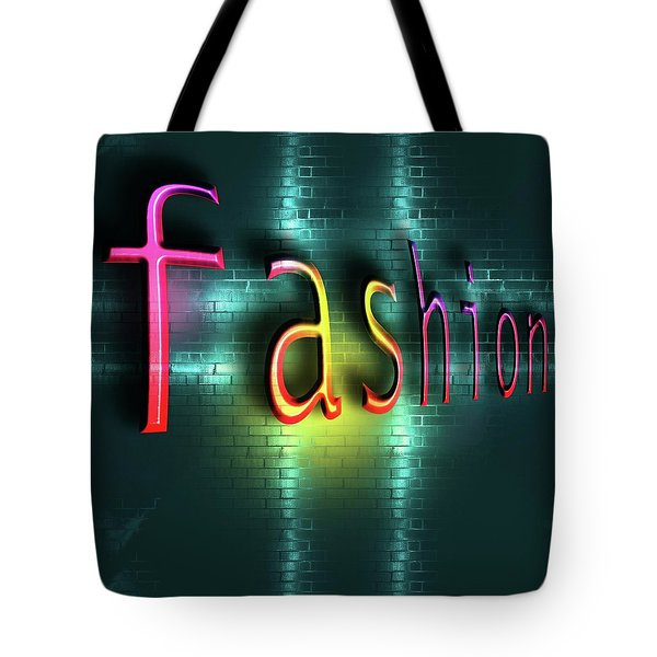 Colorful Word Fashion On Blue Reflecting Metallic Background. Tote Bag