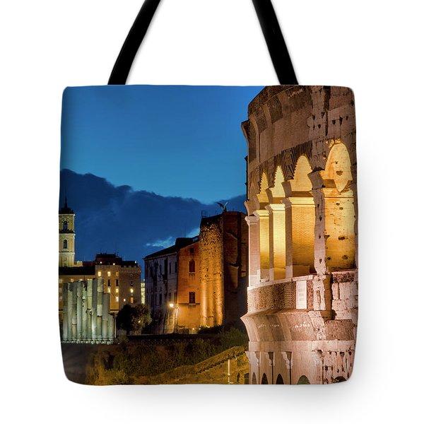 Tote Bag featuring the photograph Colosseum And The Campidoglio by Fabrizio Troiani
