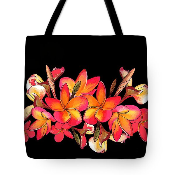 Coloured Frangipani Black Bkgd Tote Bag