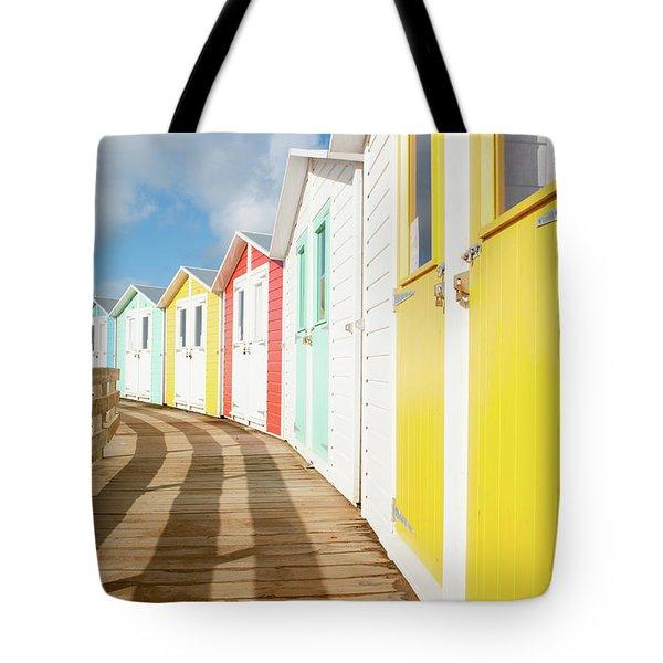 Colourful Bude Beach Huts Tote Bag