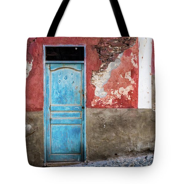 Colorful Wall With Blue Door Tote Bag
