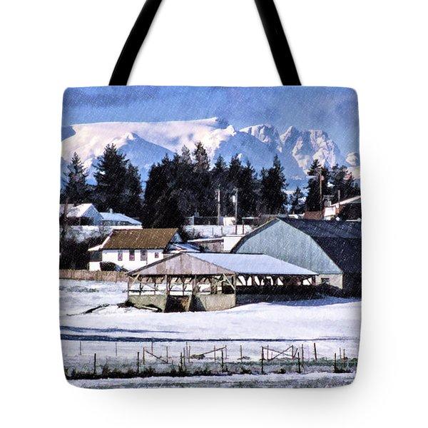 Comox Glacier And Farmland Tote Bag
