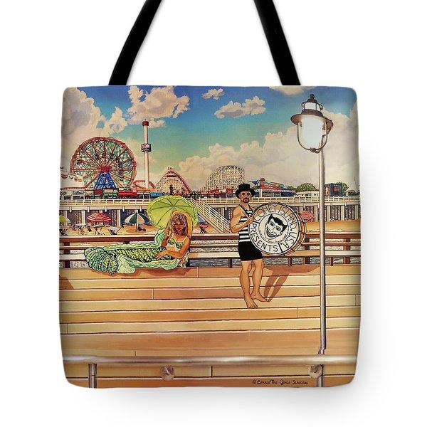Coney Island Boardwalk Pillow Mural #4 Tote Bag
