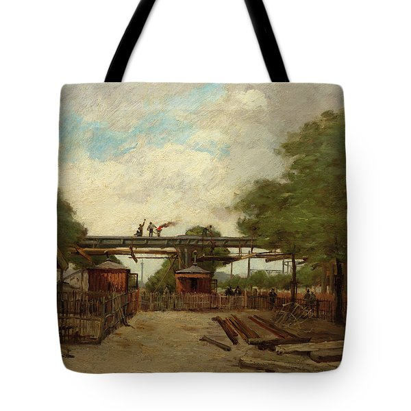 Construction Of An Elevated Railway Bridge Over The Cours De Vincennes, 1888 Tote Bag
