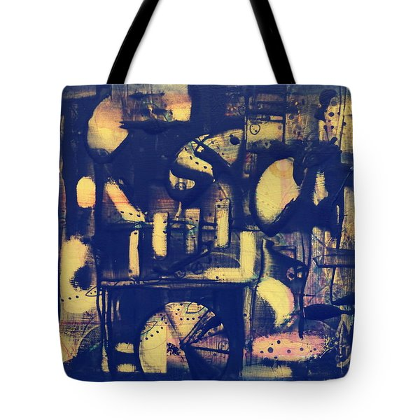 Tote Bag featuring the painting Contraption by 'REA' Gallery