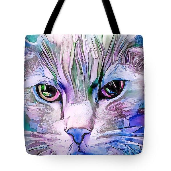 Cool Blue Cat Tote Bag