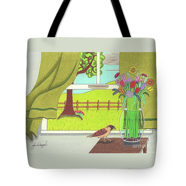 Tote Bag featuring the drawing Cool Breeze by John Wiegand
