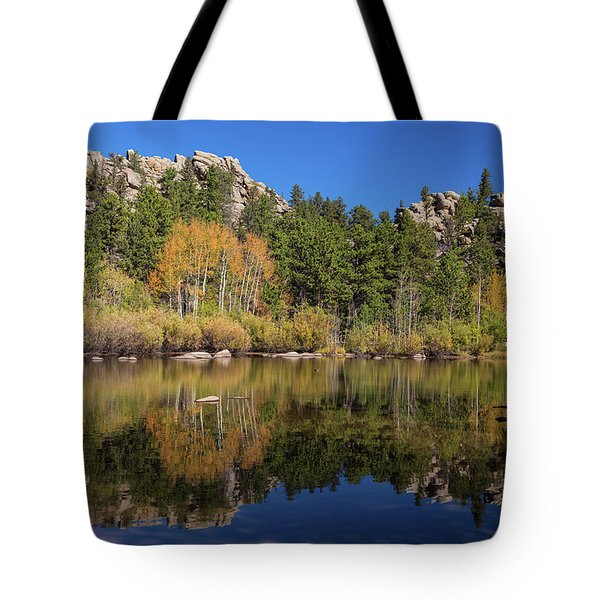 Tote Bag featuring the photograph Cool Calm Rocky Mountains Autumn Reflections by James BO Insogna