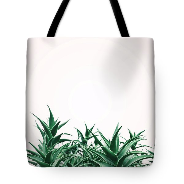 Cool Minimal Nature Design With Aloe Vera Plant In Pastel And Gr Tote Bag