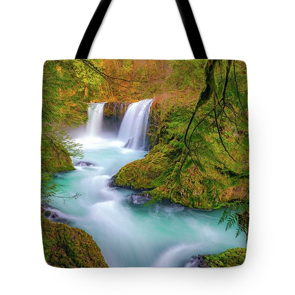 Cool Mountain Water Flows Outward To The Sea Tote Bag