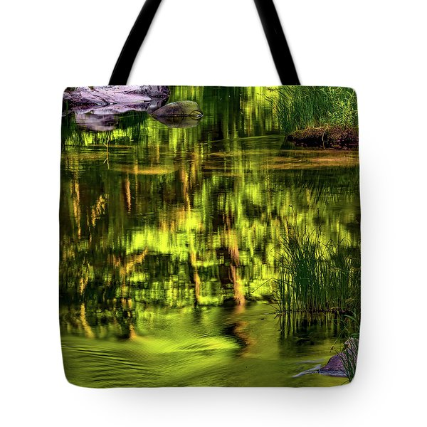 Tote Bag featuring the photograph Coquille Forest Reflections by Leland D Howard