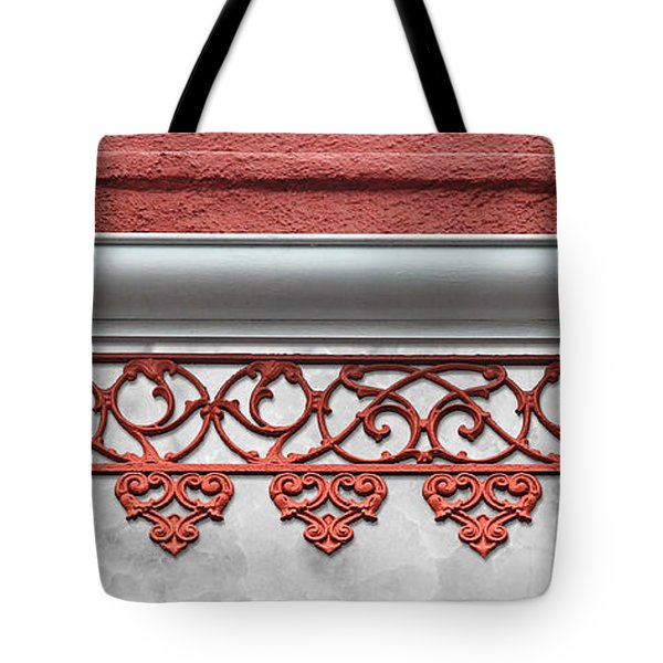 Coral Pink Wrought Iron Trim Tote Bag